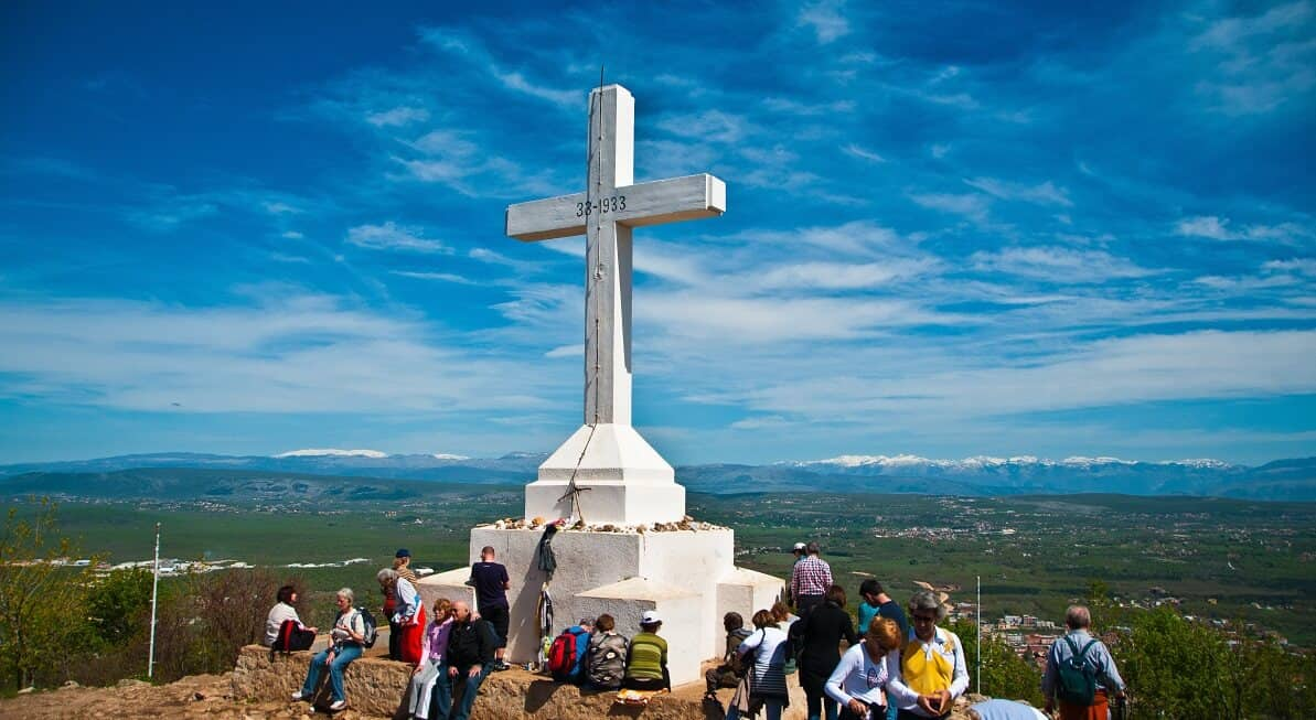 A cross on top of the hill in Medjugorje