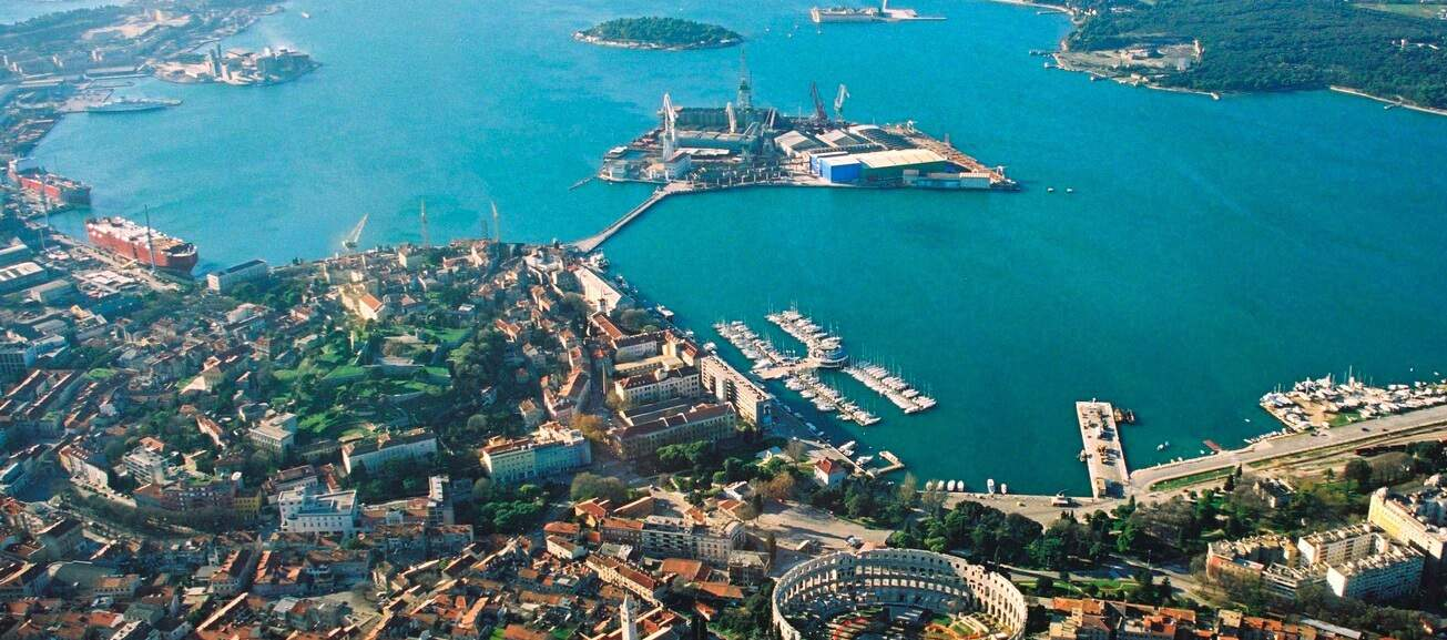 Aerial view of the city of Pula
